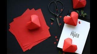 Как сделать объемные сердечки оригами. Мастер-класс.