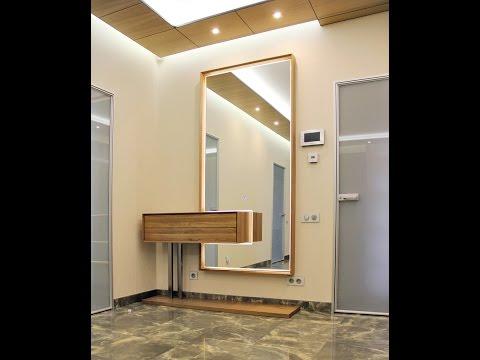 Зеркало в прихожую из массива ясеня с подсветкой