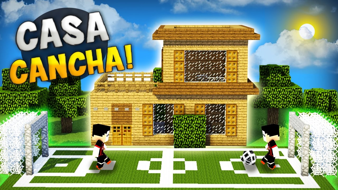 Minecraft como hacer una casa para survival con cancha de for Minecraft videos casas