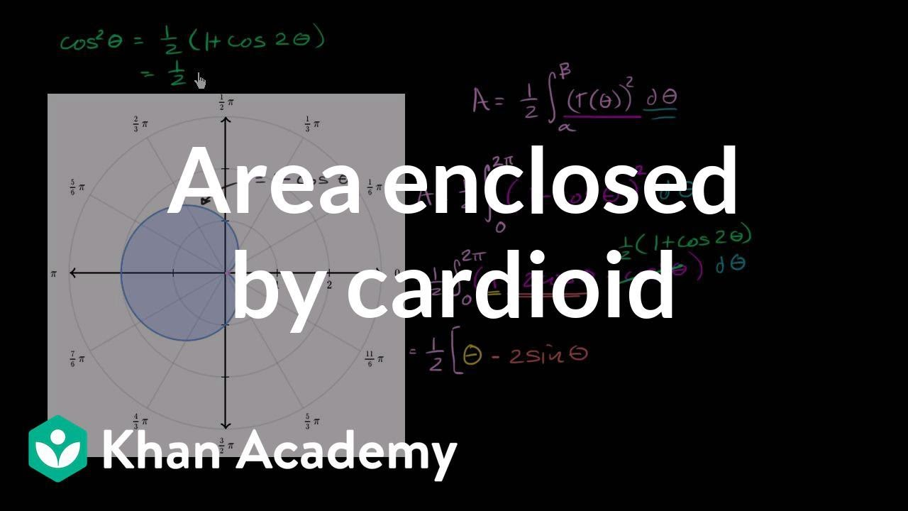 Worked example: Area enclosed by cardioid (video) | Khan Academy