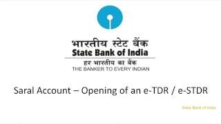SBI Corporate Internet Banking Saral: Creating eTDR & eSTDR (Video Created as on September 2016)