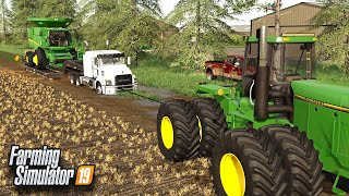 SEMI STUCK IN DEEP MUD! (JOHN DEERE TO THE RESCUE) | FARMING SIMULATOR 2019