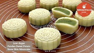 Low-Sugar Pandan Sweet Potato Paste Snow Skin Mooncake  MyKitchen101en