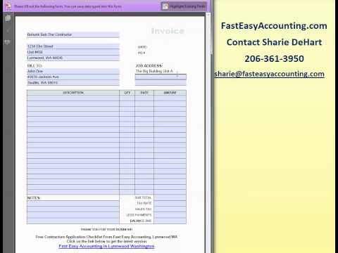 FREE Invoice Template For Contractors By Fast Easy Accounting
