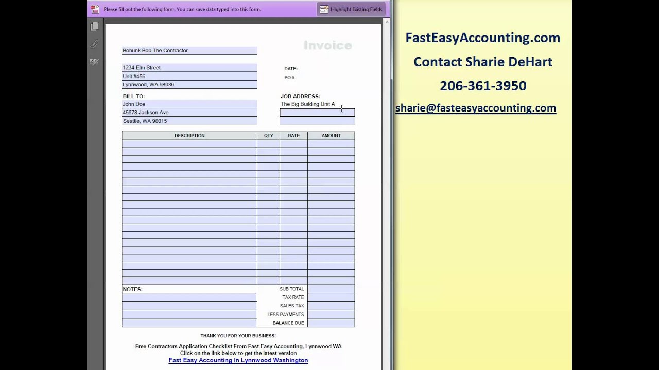 FREE Invoice Template For Contractors By Fast Easy Accounting - Free construction invoice template