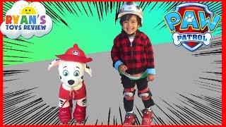 First time Roller Skating on Disney Pixar Cars Lightning McQueen Paw Patrol Marshall Ryan ToysReview