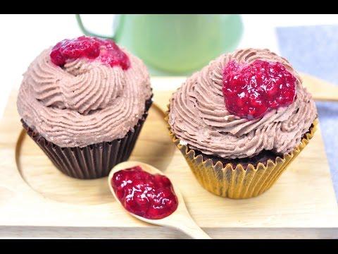 ไอศกรีมคัพเค้กช็อกโกแลตราสเบอร์รี่ Raspberry Chocolate Ice Cream Cupcake