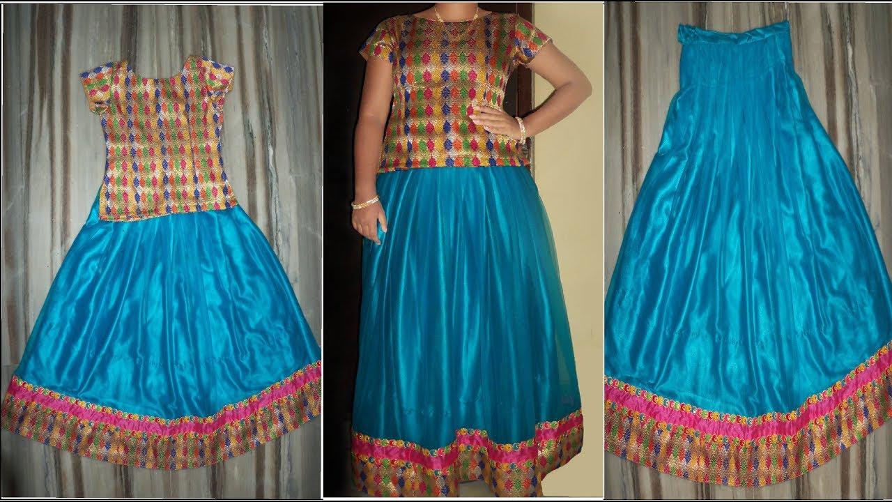 d4292ad5a2 Straight Cut Lehenga Cutting & Stitching ||How to Make Box Pleated Long  Skirt