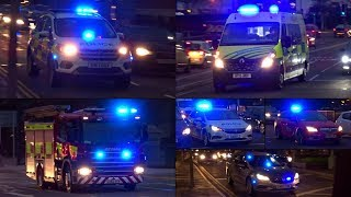 Ambulances, Fire engine + NEW Police cars responding during rush hour!
