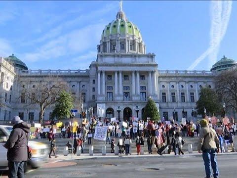 Demonstrators Greet Pennsylvania Electors
