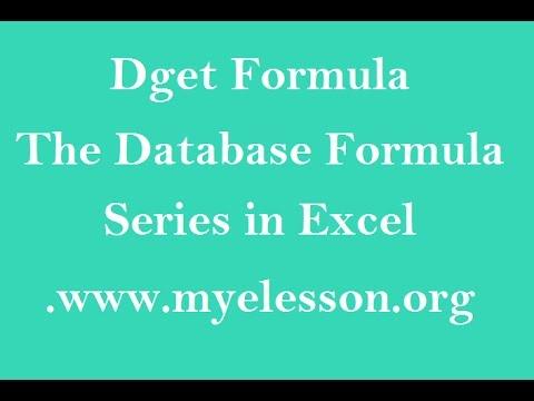 Dget Formula in Excel