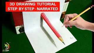 Cool 3d trick art | How to draw 3d pencil on paper | 3d drawing tutorial step by step narrated