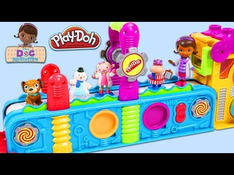 Doc McStuffins and Friends Visit Play Doh Mega Fun Factory Playset!