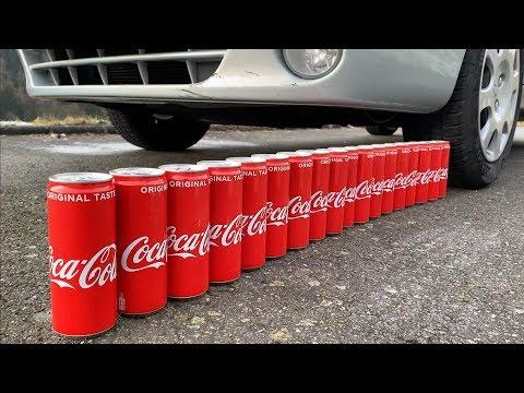 Cushing Crunchy & Soft Things by Car! - EXPERIMENT: CAR VS COCA COLA