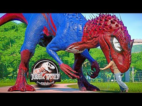 Spiderman I-REX vs T-REX, King Shark, Inspinedoraptor Dinosaurs Fight 🌍 JURASSIC WORLD EVOLUTION |