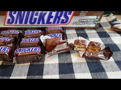 """Package opening of , """"Snickers Snack Size Chocolate Bars""""!"""