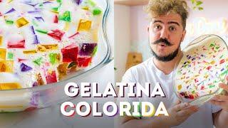 sobremesa de verão de gelatina colorida