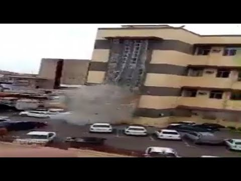 RAW: Moment suicide bomber detonates himself inside Libyan court