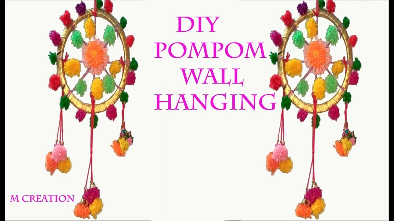 Pom Pom Wall Hanging how to make woolen pompom wall hanging - youtube