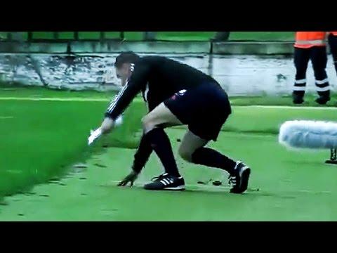 Drunk Soccer Refs Stumble & Piss on Field