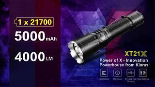 Extreme Output Tactical Flashlight KLARUS XT21X, 21700 Battery