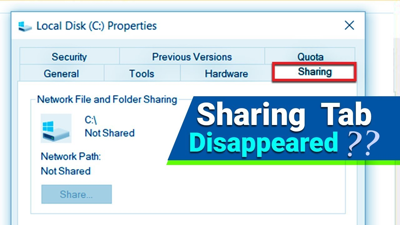 Sharing options disappeared | Missing Sharing Tab in Folder Properties on  Windows 7/8 1/10