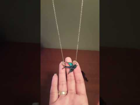 Best Handcrafted Blue Green Abalone Paua Bird Pendant Silver Mood Necklace