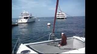 Picking Up a Mooring With a Sailing Catamaran at Catalina Island