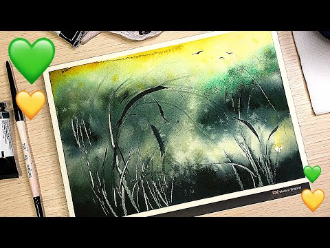 WATERCOLOR PAINTING TECHNIQUE with using plastic card