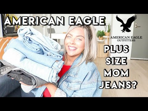 I TRIED AMERICAN EAGLE CURVY MOM JEANS. PLUS SIZE TRY ON HAUL