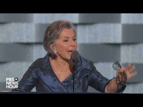 Barbara Boxer explaining her family connection to Hillary Clinton, speech at DNC 2016