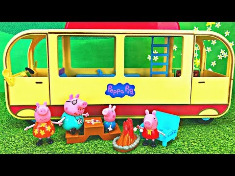 Peppa Pig's Transforming Camper Van  Camping Adventure Toy Surprise