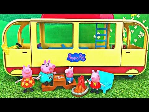 Peppa Pigs Transforming Camper Van  Camping Adventure Toy Surprise