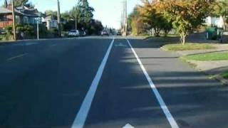 hybrid roadscape - climbing bikelane into sharrows