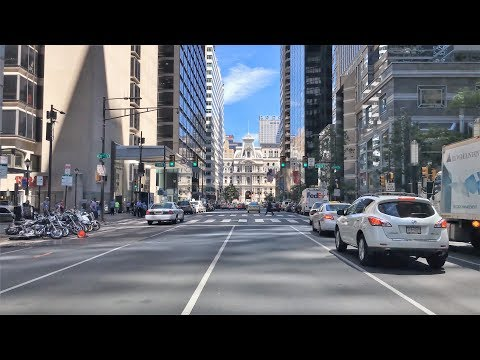 Driving Downtown - Market Street - Philadelphia Pennsylvania USA