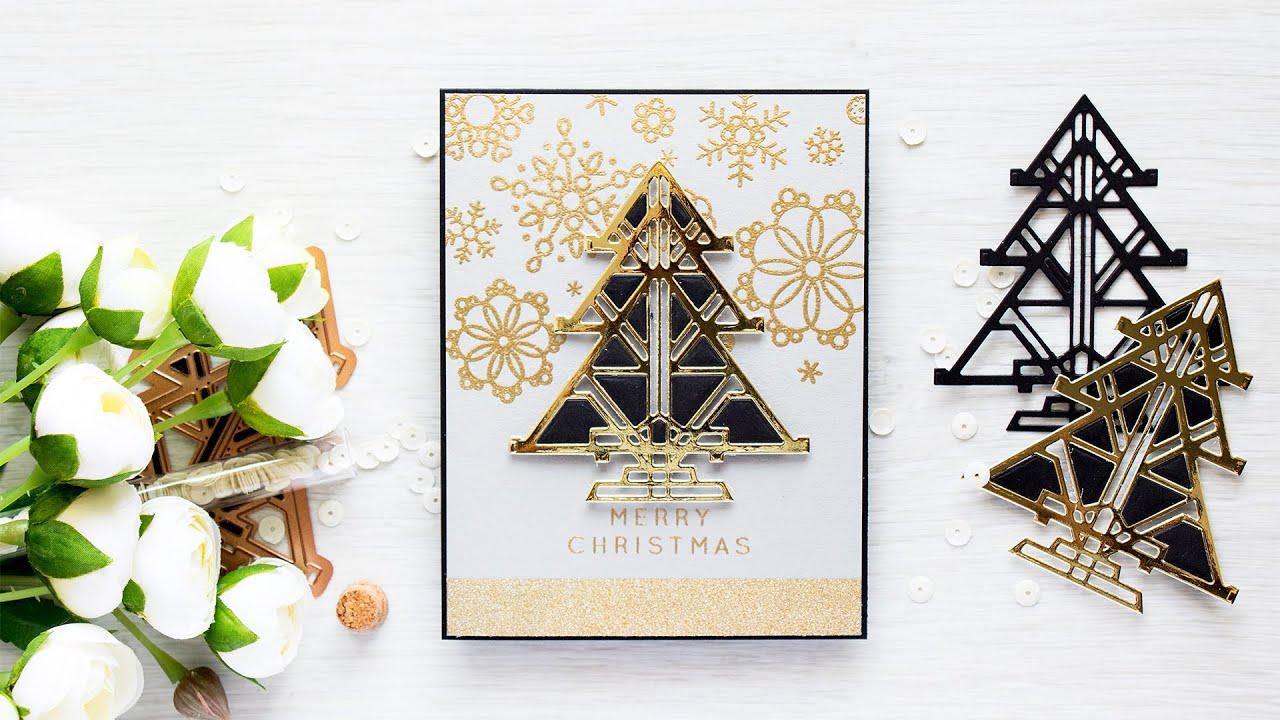 modern christmas card with art deco tree - Modern Christmas Cards