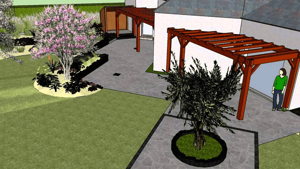 mod lisation 3d sketchup du projet d 39 am nagement paysager. Black Bedroom Furniture Sets. Home Design Ideas