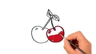 Как рисовать вишневый - дошкольное обучение - Pазвлекательныe и образовательные игры для детей