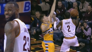 lebron james lob pass goes in kyrie irving crazy layup nuggets vs cavs