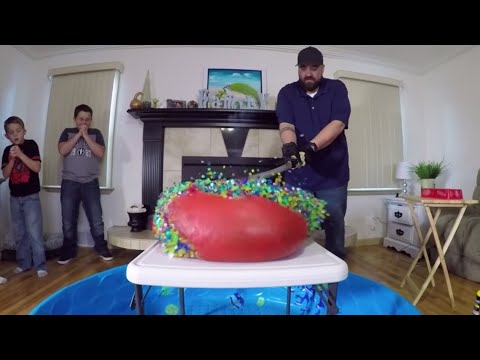 Thumbnail: 1000 Degree Sword Vs GIANT ORBEEZ BALLOON and Gummy Big Mac Cheeseburger!!