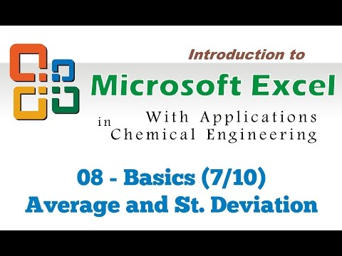 Excel for Chemical Engineers I 08 I Basics [Average and standard deviation] (7/10)