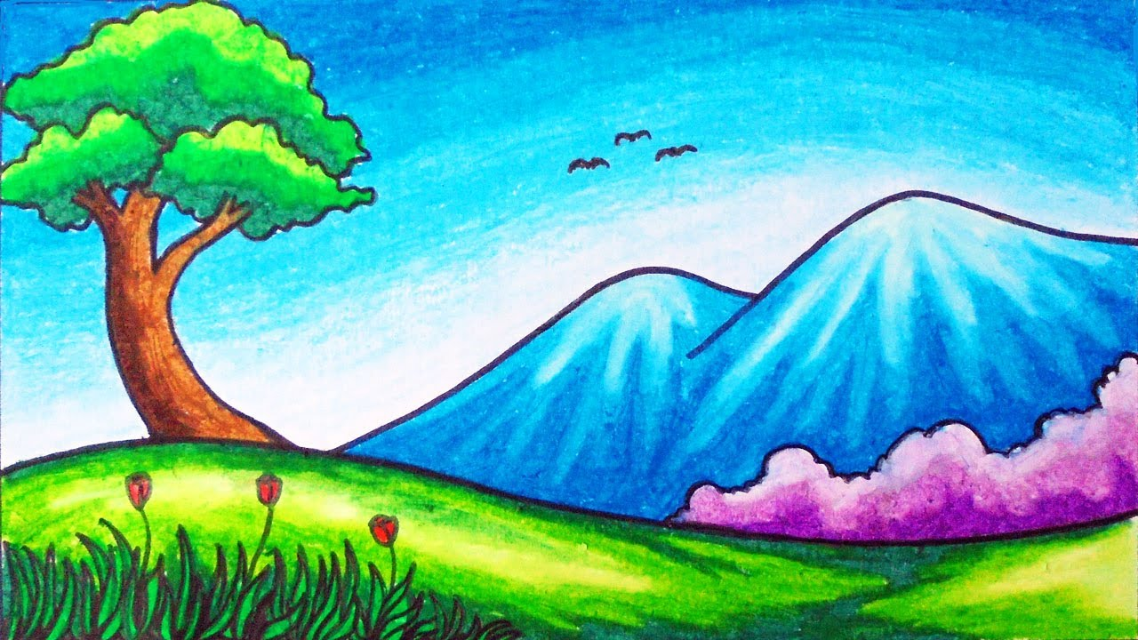 Easy Mountain Hills Scenery Drawing How To Draw Simple Nature Scenery For Beginners Youtube