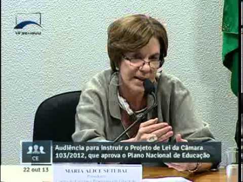 Maria Alice Setubal na audiência pública na Comissão de Esducação, Cultura e Esporte (CE)