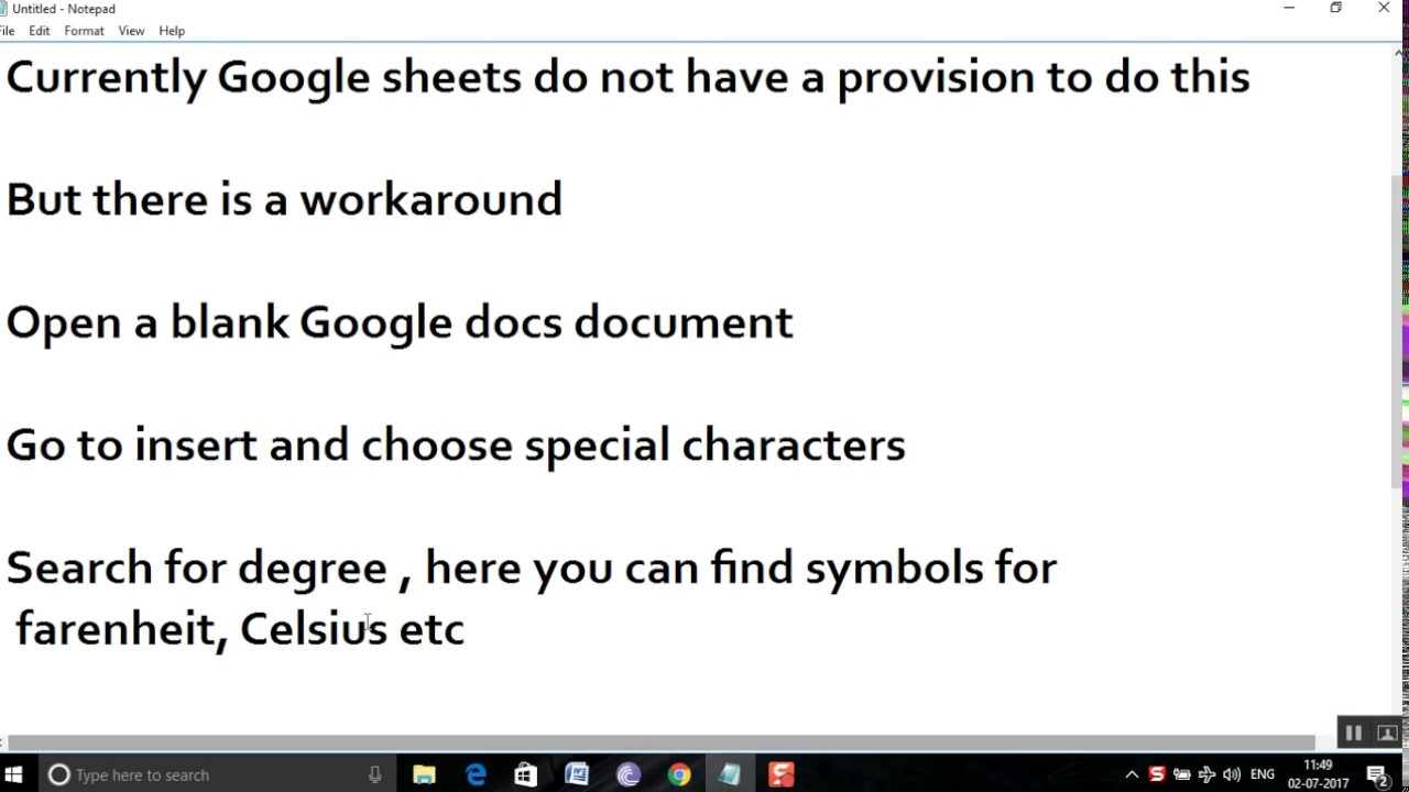 How To Add A Degree Symbol In Google Sheetsgoogle Slides Youtube