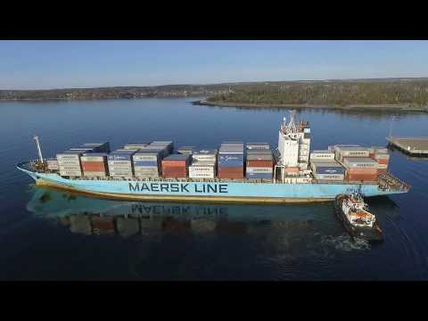 Aerial View - Container Ship MAERSK PENANG Inbound Halifax, NS - One Tug - Halterm