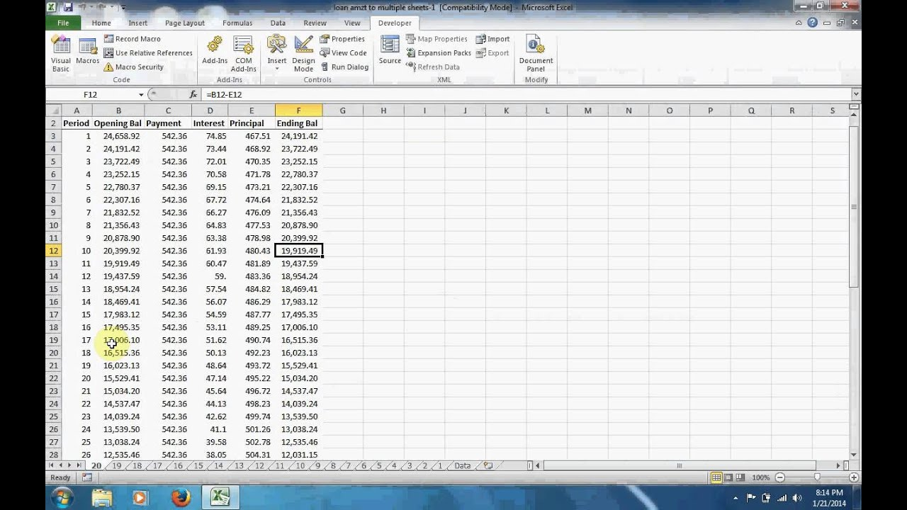 Excel Vba Fixed Income Expand To Multiple Sheets