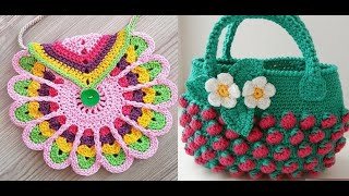 Cute crochet kids bag purse he…