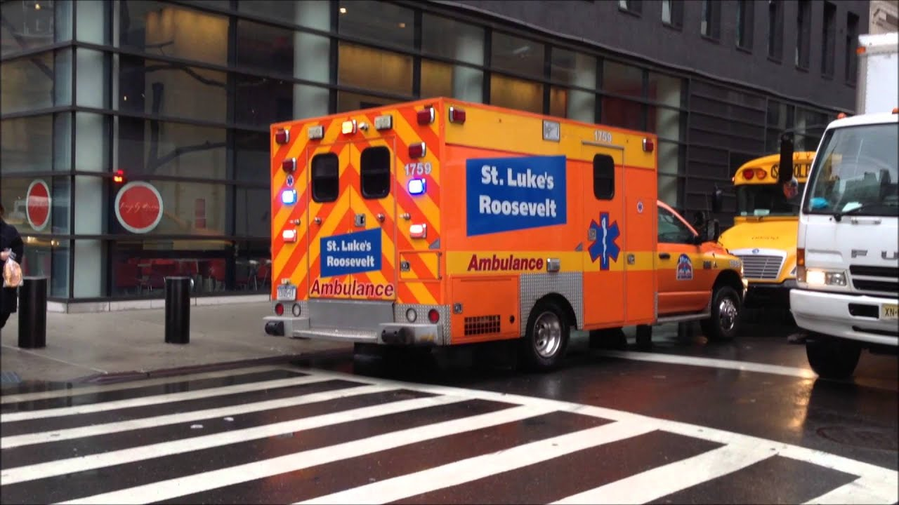 2 FDNY AMBULANCES 1 ST LUKES ROOSEVELT AMBULANCE AND 1 NYPD