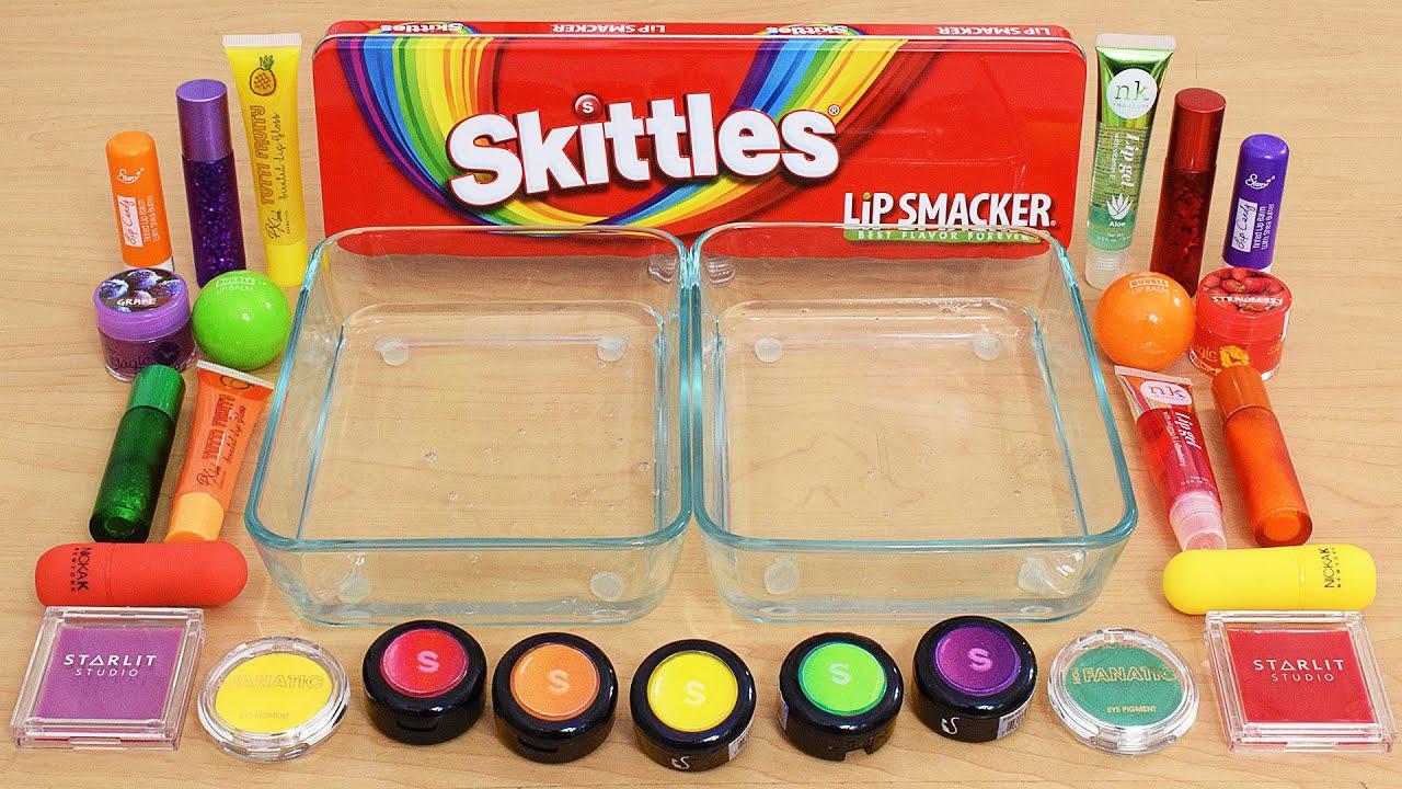 Skittles Rainbow - Mixing Makeup Eyeshadow Into Slime ASMR