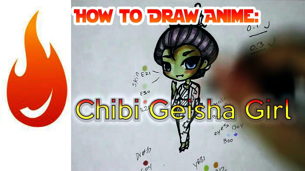 How to draw a chibi geisha anime manga girl character tutorial